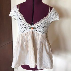 Free People Crochet, Lace & Linen Cream Top XS